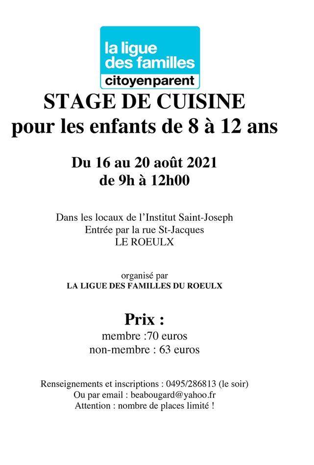 affiche STAGE DE CUISINEete2021